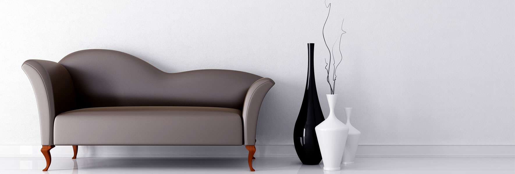 modern styled furniture - sofa and vases